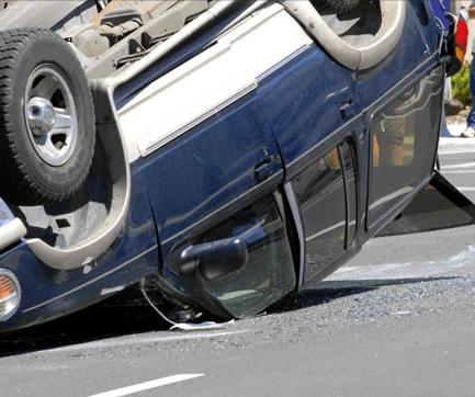 an overturned car